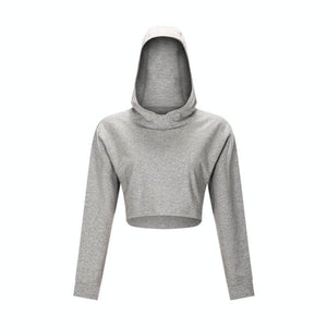 Keep yourself warm and mobile with this Solid Cotton Pullover Crop Hoodie - Heather Grey. Featuring a waist kissing cut-off hem, relaxed and dropped shoulders and cuffed wrists, this crop hoodie is a reliable piece from gym to studio to street, with its supportive fabric blend and boxy silhouette. Soft and brushed interior is skin friendly. This pullover hoodie keeps you mobile yet still warm whatever activity you are engaging in. Perfect outer layer for early spring, autumn and winter.