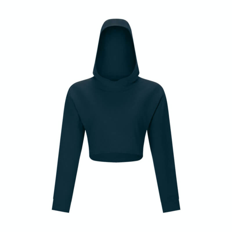 Keep yourself warm and mobile with this Solid Cotton Pullover Crop Hoodie - Arctic Blue. Featuring a waist kissing cut-off hem, relaxed and dropped shoulders and cuffed wrists, this crop hoodie is a reliable piece from gym to studio to street, with its supportive fabric blend and boxy silhouette. Soft and brushed interior is skin friendly. This pullover hoodie keeps you mobile yet still warm whatever activity you are engaging in. Perfect outer layer for early spring, autumn and winter.