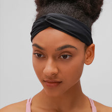 Load image into Gallery viewer, Keep bangs at bay and sweat out of eyes with this Solid Elastic Knotted Turban Headband - Black. This softly scrunched headband offers a secure fit to hold your hair back, and along with moisture-wicking fabric, allows you to stay fresh and focused on your workout. Perfect for all sorts of workout activities including yoga, jogging, weightlifting, cardio, dancing, hiking, spinning, skating etc. Also suitable for morning makeup and nighttime moisturizing. Lightweight, breathable, stretchy and buttery soft.