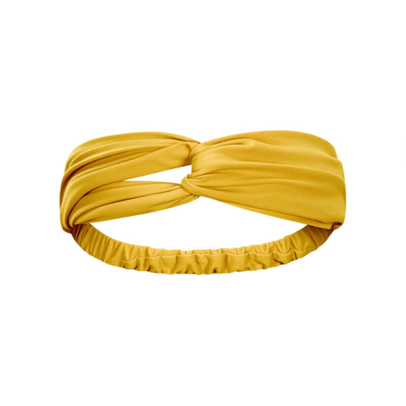 Keep bangs at bay and sweat out of eyes with this Solid Elastic Knotted Turban Headband - Yellow. This softly scrunched headband offers a secure fit to hold your hair back, and along with moisture-wicking fabric, allows you to stay fresh and focused on your workout. Perfect for all sorts of workout activities including yoga, jogging, weightlifting, cardio, dancing, hiking, spinning, skating etc. Also suitable for morning makeup and nighttime moisturizing. Lightweight, breathable, stretchy and buttery soft.