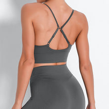 Load image into Gallery viewer, Bring Your Electronic Companion Along with this Solid Pocket Leggings & Plunge Sports Bra Set - Dark Grey. This workout set includes a pair of leggings and a sports bra. High waisted leggings feature a slim right side pocket and contouring ribbed panels. Right side pocket can store essentials like a phone, keys, cards etc. Plunge sports bra has two adjustable thin straps that can attach to each other, forming a crisscross.