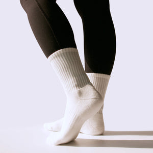 Step with support and style, from riser to sidewalk in these Solid Ribbed Athletic Crew Socks in White. These athletic crew socks feature ribbed leg and cuff. Cushioned terry knit footbed from heel to toe provides comfort and support. Arched compression provides stability and extra support, while panels on the instep promote ventilation. With soft and stretchy yarns, and moisture absorbing and breathable fabric, these workout crew socks are suitable for all day wear.