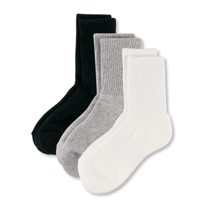 Step with support and style, from riser to sidewalk in these Solid Ribbed Athletic Crew Socks - Assorted. These athletic crew socks feature ribbed leg and cuff. Cushioned terry knit footbed from heel to toe provides comfort and support. Arched compression provides stability and extra support, while panels on the instep promote ventilation. With soft and stretchy yarns, and moisture absorbing and breathable fabric, these workout crew socks are suitable for all day wear.