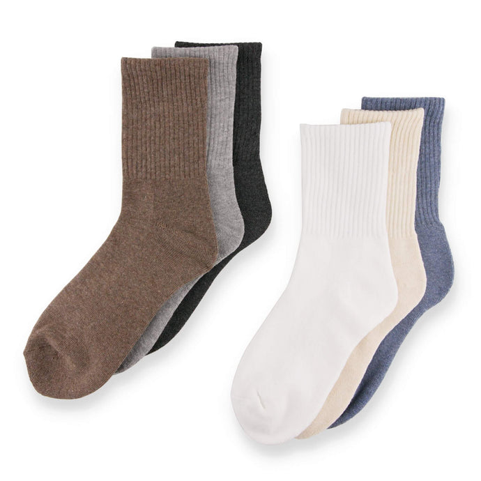 Step with support and style, from riser to sidewalk in these Solid Ribbed Athletic Crew Socks - Assorted. These athletic crew socks feature ribbed leg and cuff. Cushioned terry knit footbed from heel to toe provides comfort and support. Made of 75% combed cotton, these workout crew socks are more breathable and durable than regular cotton socks. With soft and stretchy yarns, and moisture absorbing fabric, these athletic crew socks are suitable for all day wear.