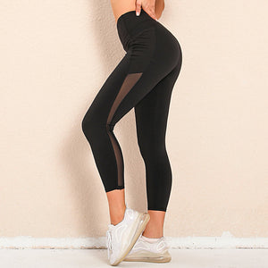 Bring your electronic companion along with this Solid Side Mesh Leggings with Pockets - Black. Workout leggings with side pockets can be very useful when you want to bring your phone with you during workout. These high waisted gym leggings feature mesh side pockets, with mesh panels extending to ankles. Side pockets can store essentials like a phone, keys, cards etc. These gym-to-street capris leggings are breathable, moisture-wicking and non-see-through.