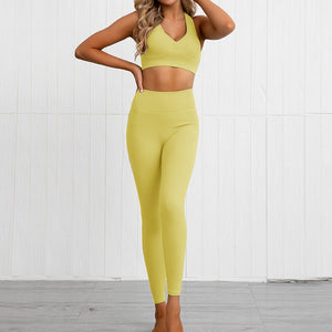 This Solid Booty Scrunch Leggings Set - Mustard Yellow is made for your favorite medium-impact workouts. The sports bra offers flattering v-neck silhouette. Widened underband at center front and tall sides, as well as racerback design provides additional support. A pair of booty scrunch leggings is high waisted fit, accentuating mid to lower body curves. This Solid Booty Scrunch Leggings Set is made of moisture-wicking, soft and stretchy fabric. Perfect for all sorts of workout activities.