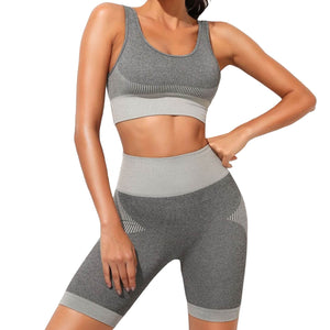 Hummingbird Solid & Striped Seamless Biker Shorts Set - Grey comes with a flattering crop tank top sports bra with square neck and low cut back, and a pair of high waisted biker shorts.