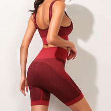 Load image into Gallery viewer, Hummingbird Solid & Striped Seamless Biker Shorts Set - Burgundy comes with a flattering crop tank top sports bra with square neck and low cut back, and a pair of high waisted biker shorts.