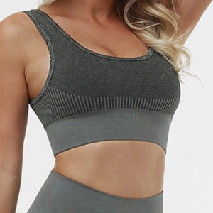 Hummingbird Solid & Striped Seamless Sports Bra - Dark Grey is a flattering crop tank top sports bra with square neck and low cut back.