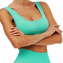 Load image into Gallery viewer, Hummingbird Solid & Striped Seamless Sports Bra - Neon Green is a flattering crop tank top sports bra with square neck and low cut back.