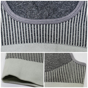 Hummingbird Solid & Striped Seamless Sports Bra - Grey is a flattering crop tank top sports bra with square neck and low cut back.