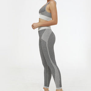 Hummingbird Solid & Striped Seamless Sports Set - Grey comes as a flattering crop tank top sports bra with square neck and low cut back, and a pair of high waisted leggings.