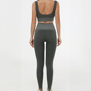 Hummingbird Solid & Striped Seamless Sports Set - Dark Grey comes as a flattering crop tank top sports bra with square neck and low cut back, and a pair of high waisted leggings.