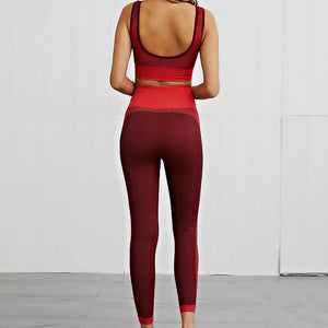 Hummingbird Solid & Striped Seamless Sports Set - Burgundy comes as a flattering crop tank top sports bra with square neck and low cut back, and a pair of high waisted leggings.