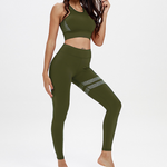 Hummingbird Solid & Striped Sports Set containing a racerback padded sports bra and a pair of asymmetric striped high-rise cropped leggings. Made of breathable and wicking fabric that's comfortable to wear.