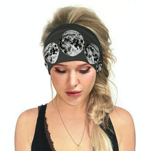 Load image into Gallery viewer, Hummingbird Space Printed Multifunctional Headband - Moon Phases offers a secure fit to hold your hair back, and along with moisture-wicking fabric, allows you to stay fresh and focused on your workout. Perfect for all sorts of workout activities. Also suitable for daily wear as a hair band, head wrap, bandana, face cover, morning makeup and nighttime moisturizing.