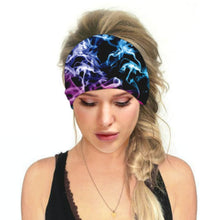 Load image into Gallery viewer, Hummingbird Space Printed Multifunctional Headband - Galaxy A offers a secure fit to hold your hair back, and along with moisture-wicking fabric, allows you to stay fresh and focused on your workout. Perfect for all sorts of workout activities. Also suitable for daily wear as a hair band, head wrap, bandana, face cover, morning makeup and nighttime moisturizing.