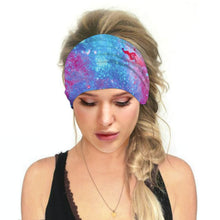 Load image into Gallery viewer, Hummingbird Space Printed Multifunctional Headband - Galaxy B offers a secure fit to hold your hair back, and along with moisture-wicking fabric, allows you to stay fresh and focused on your workout. Perfect for all sorts of workout activities. Also suitable for daily wear as a hair band, head wrap, bandana, face cover, morning makeup and nighttime moisturizing.