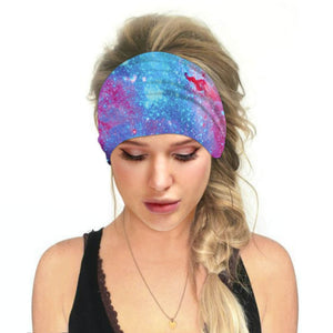 Hummingbird Space Printed Multifunctional Headband - Galaxy B offers a secure fit to hold your hair back, and along with moisture-wicking fabric, allows you to stay fresh and focused on your workout. Perfect for all sorts of workout activities. Also suitable for daily wear as a hair band, head wrap, bandana, face cover, morning makeup and nighttime moisturizing.