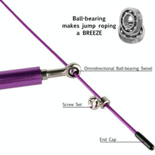 Load image into Gallery viewer, Hummingbird Omnidirectional Bearing Jump Rope Set with Omnidirectional Ball-bearing Swivel, Screw Sets and End Caps. Ball-bearing makes jump roping a breeze.