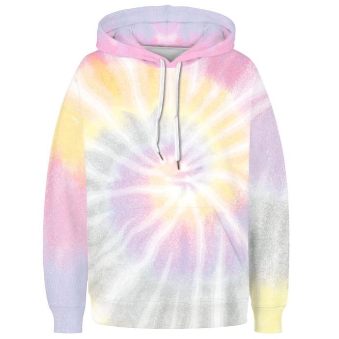 Spiral Tie Dye Long Sleeve Kangaroo Pocket Hoodie - Spiral A features a drawstring, kangaroo pocket, and ribbed cuffs and hem. Digital printing technology keeps tie dye patterns intact after wear and tear. Perfect for any daily activities from workout to casual lounging. Complete the look with a pair of joggers, biker shorts, jeans and more because it goes with almost anything in your closet!