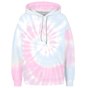 Spiral Tie Dye Long Sleeve Kangaroo Pocket Hoodie - Spiral B features a drawstring, kangaroo pocket, and ribbed cuffs and hem. Digital printing technology keeps tie dye patterns intact after wear and tear. Perfect for any daily activities from workout to casual lounging. Complete the look with a pair of joggers, biker shorts, jeans and more because it goes with almost anything in your closet!