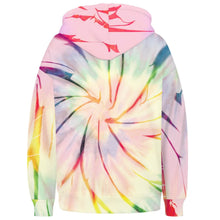 Load image into Gallery viewer, Spiral Tie Dye Long Sleeve Kangaroo Pocket Hoodie - Spiral F features a drawstring, kangaroo pocket, and ribbed cuffs and hem. Digital printing technology keeps tie dye patterns intact after wear and tear. Perfect for any daily activities from workout to casual lounging. Complete the look with a pair of joggers, biker shorts, jeans and more because it goes with almost anything in your closet!