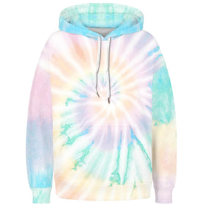 Spiral Tie Dye Long Sleeve Kangaroo Pocket Hoodie - Spiral C features a drawstring, kangaroo pocket, and ribbed cuffs and hem. Digital printing technology keeps tie dye patterns intact after wear and tear. Perfect for any daily activities from workout to casual lounging. Complete the look with a pair of joggers, biker shorts, jeans and more because it goes with almost anything in your closet!