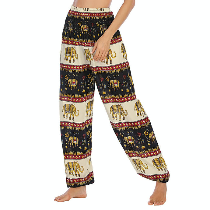 Empower your energy flow and blood circulation during yoga practice with these Sri Lanka Elephant Yoga Harem Pants - Black. Featuring Sri Lanka elephants and tropical elements, these Sri Lanka Elephant Yoga Harem Pants are the must-have companion for your yoga journey, be it for asanas, pranayama, or meditation. With high rise smocked waist and elastic ankles, these loose yoga pants can be adjusted to fit most body types. Handmade with natural dyeing techniques. Also perfect for vacations.