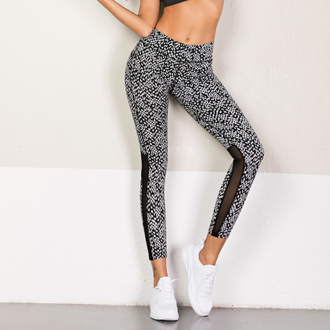 Static Print Mesh Cropped Leggings