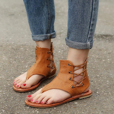 Zipper & Strap Flat Leather Sandals
