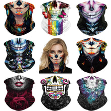 Load image into Gallery viewer, Keep yourself away from the sun, dust, and more with this Sugar Skull Print Multifunctional Neck Gaiter! Digital printing technology creates a variety of vivid patterns. Seamless edges maximize the stretch at the ends. This Sugar Skull Print Multifunctional Neck Gaiter is so versatile that there are 16+ ways to wear it. Perfect for all sorts of indoor and outdoor activities with UV protection and odor control. Made of microfiber fabric that's lightweight, fast dry, stretchy and soft.