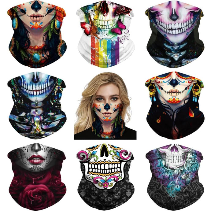 Keep yourself away from the sun, dust, and more with this Sugar Skull Print Multifunctional Neck Gaiter! Digital printing technology creates a variety of vivid patterns. Seamless edges maximize the stretch at the ends. This Sugar Skull Print Multifunctional Neck Gaiter is so versatile that there are 16+ ways to wear it. Perfect for all sorts of indoor and outdoor activities with UV protection and odor control. Made of microfiber fabric that's lightweight, fast dry, stretchy and soft.