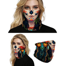 Load image into Gallery viewer, Keep yourself away from the sun, dust, and more with this Sugar Skull Print Multifunctional Neck Gaiter - Beauty A! Digital printing technology creates a variety of vivid patterns. Seamless edges maximize the stretch at the ends. This Sugar Skull Print Multifunctional Neck Gaiter is so versatile that there are 16+ ways to wear it. Perfect for all sorts of indoor and outdoor activities with UV protection and odor control. Made of microfiber fabric that's lightweight, fast dry, stretchy and soft.