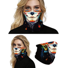 Load image into Gallery viewer, Keep yourself away from the sun, dust, and more with this Sugar Skull Print Multifunctional Neck Gaiter - Beauty B! Digital printing technology creates a variety of vivid patterns. Seamless edges maximize the stretch at the ends. This Sugar Skull Print Multifunctional Neck Gaiter is so versatile that there are 16+ ways to wear it. Perfect for all sorts of indoor and outdoor activities with UV protection and odor control. Made of microfiber fabric that's lightweight, fast dry, stretchy and soft.