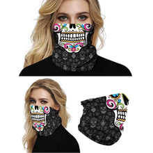 Load image into Gallery viewer, Keep yourself away from the sun, dust, and more with this Sugar Skull Print Multifunctional Neck Gaiter - Classic! Digital printing technology creates a variety of vivid patterns. Seamless edges maximize the stretch at the ends. This Sugar Skull Print Multifunctional Neck Gaiter is so versatile that there are 16+ ways to wear it. Perfect for all sorts of indoor and outdoor activities with UV protection and odor control. Made of microfiber fabric that's lightweight, fast dry, stretchy and soft.