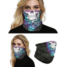Load image into Gallery viewer, Keep yourself away from the sun, dust, and more with this Sugar Skull Print Multifunctional Neck Gaiter - Roses! Digital printing technology creates a variety of vivid patterns. Seamless edges maximize the stretch at the ends. This Sugar Skull Print Multifunctional Neck Gaiter is so versatile that there are 16+ ways to wear it. Perfect for all sorts of indoor and outdoor activities with UV protection and odor control. Made of microfiber fabric that's lightweight, fast dry, stretchy and soft.