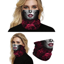 Load image into Gallery viewer, Keep yourself away from the sun, dust, and more with this Sugar Skull Print Multifunctional Neck Gaiter - Beauty C! Digital printing technology creates a variety of vivid patterns. Seamless edges maximize the stretch at the ends. This Sugar Skull Print Multifunctional Neck Gaiter is so versatile that there are 16+ ways to wear it. Perfect for all sorts of indoor and outdoor activities with UV protection and odor control. Made of microfiber fabric that's lightweight, fast dry, stretchy and soft.