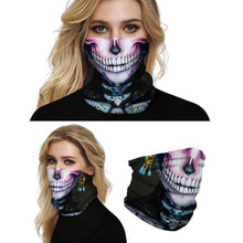 Load image into Gallery viewer, Keep yourself away from the sun, dust, and more with this Sugar Skull Print Multifunctional Neck Gaiter - Beauty E! Digital printing technology creates a variety of vivid patterns. Seamless edges maximize the stretch at the ends. This Sugar Skull Print Multifunctional Neck Gaiter is so versatile that there are 16+ ways to wear it. Perfect for all sorts of indoor and outdoor activities with UV protection and odor control. Made of microfiber fabric that's lightweight, fast dry, stretchy and soft.