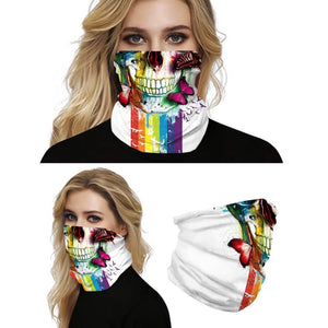 Keep yourself away from the sun, dust, and more with this Sugar Skull Print Multifunctional Neck Gaiter - Butterflies! Digital printing technology creates a variety of vivid patterns. Seamless edges maximize the stretch at the ends. This Sugar Skull Print Multifunctional Neck Gaiter is so versatile that there are 16+ ways to wear it. Perfect for all sorts of indoor and outdoor activities with UV protection and odor control. Made of microfiber fabric that's lightweight, fast dry, stretchy and soft.