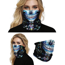 Load image into Gallery viewer, Keep yourself away from the sun, dust, and more with this Sugar Skull Print Multifunctional Neck Gaiter - Beauty D! Digital printing technology creates a variety of vivid patterns. Seamless edges maximize the stretch at the ends. This Sugar Skull Print Multifunctional Neck Gaiter is so versatile that there are 16+ ways to wear it. Perfect for all sorts of indoor and outdoor activities with UV protection and odor control. Made of microfiber fabric that's lightweight, fast dry, stretchy and soft.