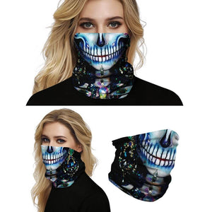Keep yourself away from the sun, dust, and more with this Sugar Skull Print Multifunctional Neck Gaiter - Beauty D! Digital printing technology creates a variety of vivid patterns. Seamless edges maximize the stretch at the ends. This Sugar Skull Print Multifunctional Neck Gaiter is so versatile that there are 16+ ways to wear it. Perfect for all sorts of indoor and outdoor activities with UV protection and odor control. Made of microfiber fabric that's lightweight, fast dry, stretchy and soft.