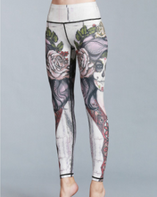 Load image into Gallery viewer, Hummingbird Sugar Skull Print Cropped Leggings made of high color fastness, breathable, fast dry and high spandex fitted fabric.