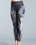 Hummingbird Sugar Skull Print Cropped Leggings made of high color fastness, breathable, fast dry and high spandex fitted fabric.