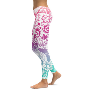 Hummingbird Sugar Skull Print Leggings