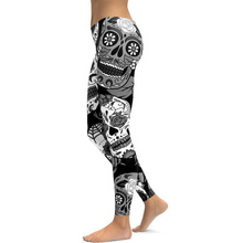 Load image into Gallery viewer, Hummingbird Sugar Skull Print Leggings