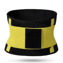 Load image into Gallery viewer, Hummingbird Elastic Velcro Gym Belts - Yellow stabilize your torso and improve lifting safety by engaging and activating your abs. Protects and strengthens your back with comfortable built-in boning stripes. Reduces back pain and helps you perform fitness workouts better.
