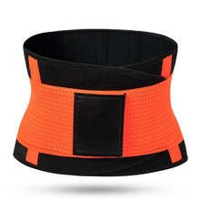 Load image into Gallery viewer, Hummingbird Elastic Velcro Gym Belts - Orange stabilize your torso and improve lifting safety by engaging and activating your abs. Protects and strengthens your back with comfortable built-in boning stripes. Reduces back pain and helps you perform fitness workouts better.