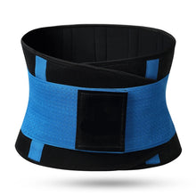 Load image into Gallery viewer, Hummingbird Elastic Velcro Gym Belts - Blue stabilize your torso and improve lifting safety by engaging and activating your abs. Protects and strengthens your back with comfortable built-in boning stripes. Reduces back pain and helps you perform fitness workouts better.