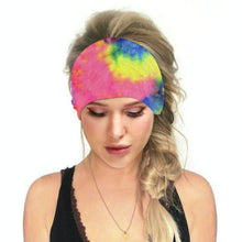 Load image into Gallery viewer, Hummingbird Tie Dye - A Print Multifunctional Headband offers a secure fit to hold your hair back, and along with moisture-wicking fabric, allows you to stay fresh and focused on your workout. Perfect for all sorts of workout activities. Also suitable for daily wear as a hair band, head wrap, bandana, face cover, morning makeup and nighttime moisturizing. This Tie Dye Print Multifunctional Headband is lightweight, breathable, odor control, stretchy and soft.